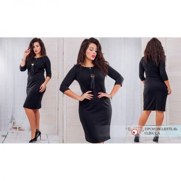 Ангоровое женское однтонное платье большого размера черное
