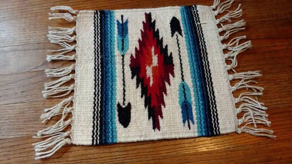 Small Mexican Saddle Blanket Hand Woven Wool Mat