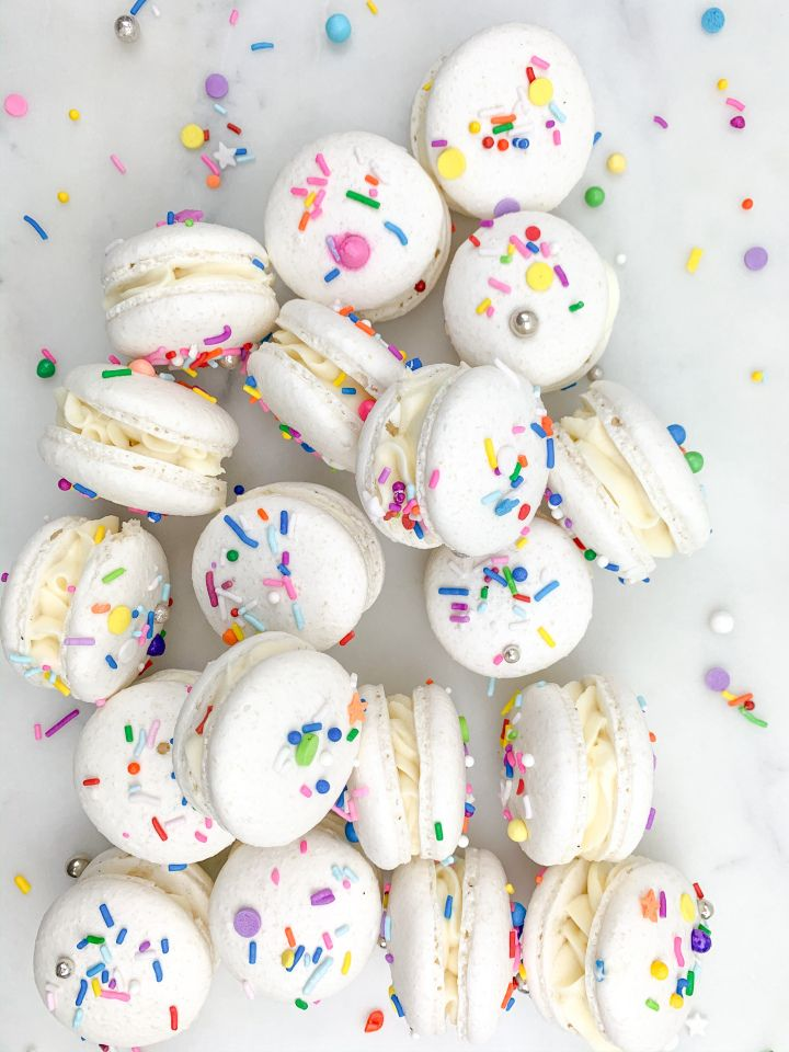 Funfetti cake batter macarons baked by ammna in 2020
