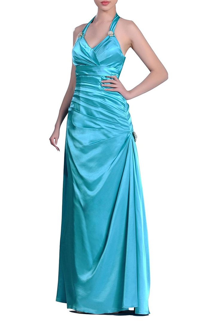 Stretch Satin Natrual Halter Full Length Evening Dress ** Unbelievable  item right here! : Plus size evening gowns