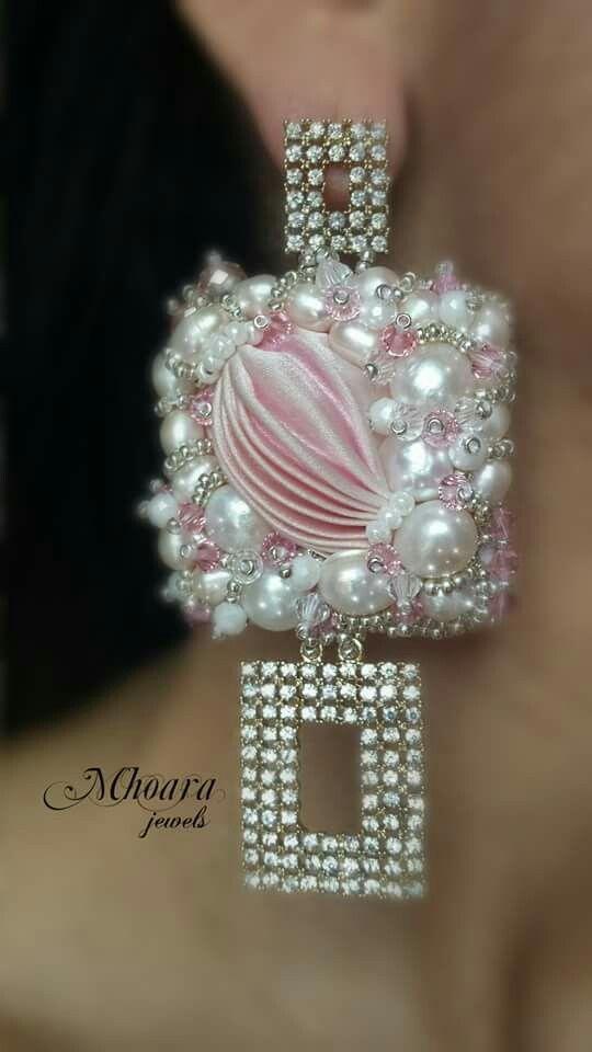 ' Light Rose ' Mhoara Jewels Shibori silk earrings beadembroidery silkribbon design