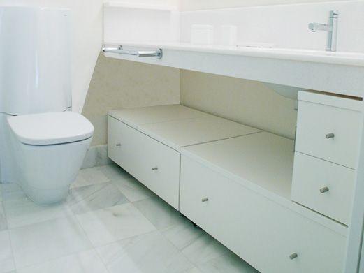 bajo lavabo acabado lacado blanco mate con encimera abatible y cajones para acceso frontal y superior
