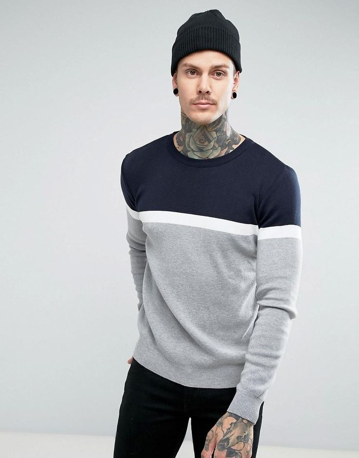#ASOS - #Pull & Bear Pull & Bear Sweater With Color Block Stripe In Navy And Gray - Gray - AdoreWe.com