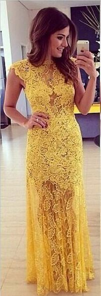 Yellow Lace Long Charming Elegant Open Back Prom Dresses,Mother of bridal Dresses,Cheap Handmade Prom Dresses.Plus Size Prom Dresses,High Quality Prom Dresses,Evening Dresses,Evening Gowns,Party Dresses,Wedding Party Dresses,Graduation Dresses,Sparkly Prom Dresses,Prom Dress for Teens