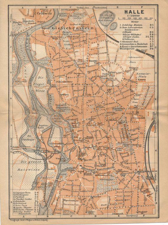 1910 Halle Deutschland Antike Landkarte von Figure10 auf Etsy
