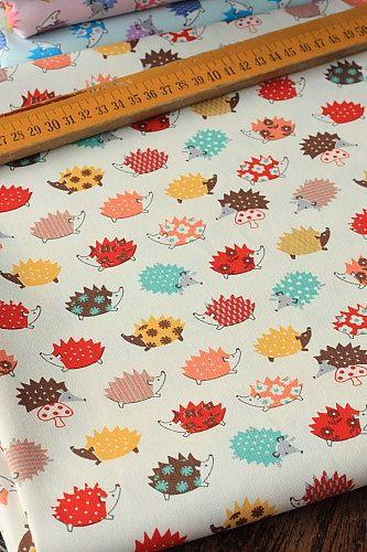 Japanese Fabric Kokka Cotton Thick - Hedgehog - Half Yard on Etsy, $8.50