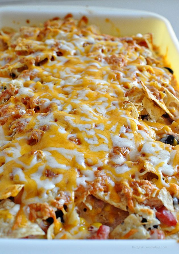 Super Simple Southwest Chicken Bake- make this yummy main dish and enjoy!   Cheesy goodness.  www.thirtyhandmadedays.com