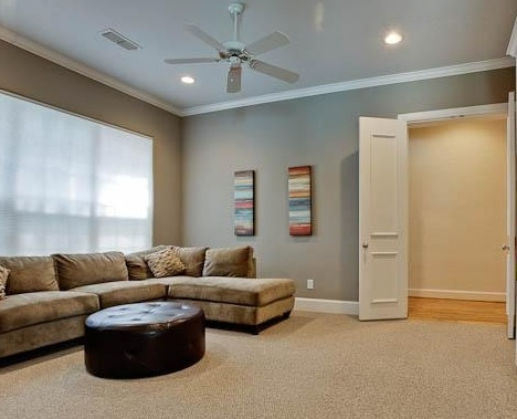Love the gray walls and neutral carpet