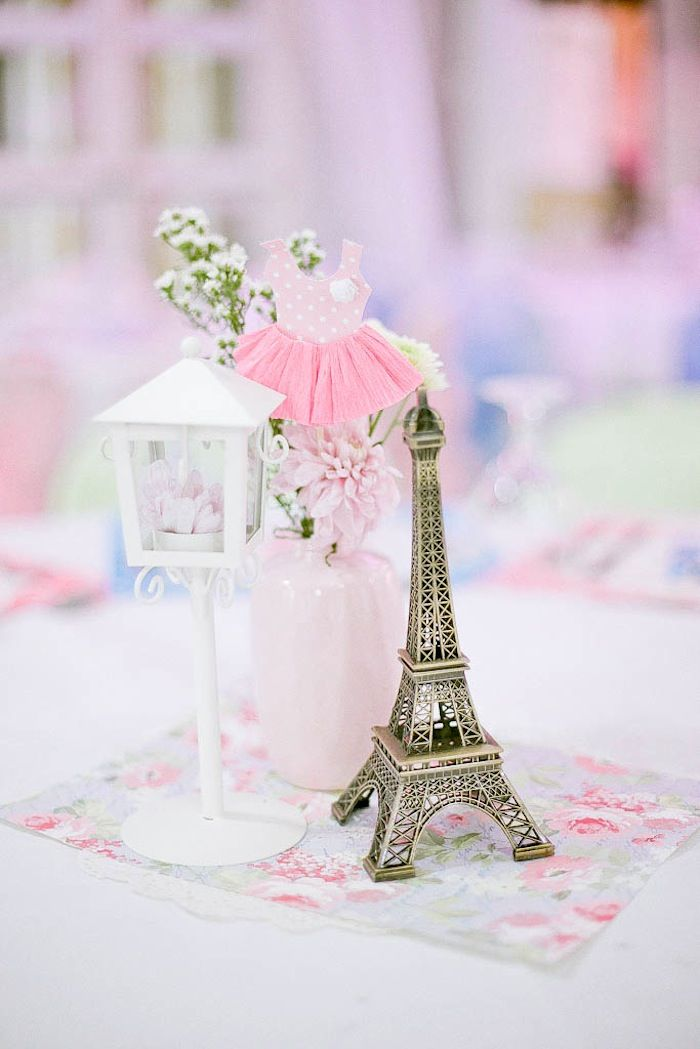 Sweet Pink Ballerina in Paris themed birthday party