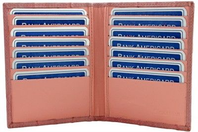 Description  Credit card holder in genuine eel with fourteen card holder,product made Italy.  Technical information:  Product: Credit Card Holder Outer material: Genuine Eel Inside material: Calfskin  Lining: Polyester resins Document holder: Two pockets Credit card holder: Fourteen pockets Dimension: 4,09-0,43-5,11 inch