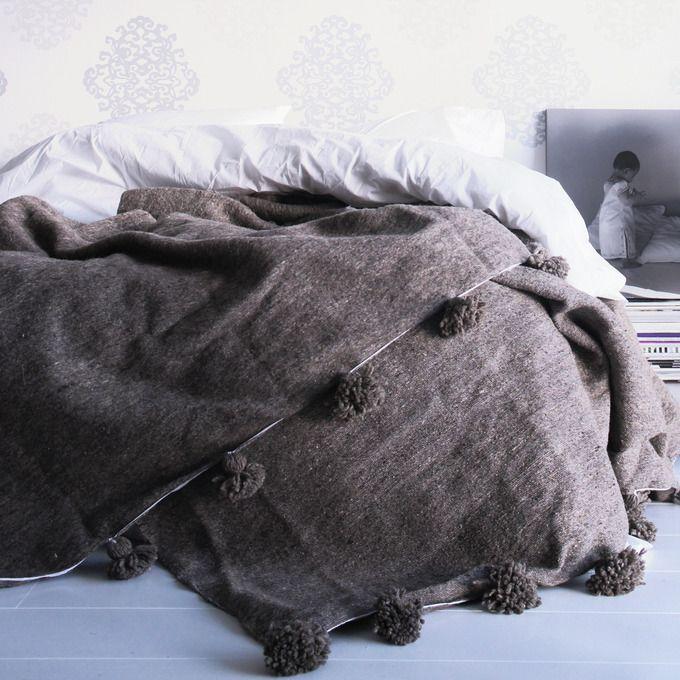 Wool Berber pom pom blanket