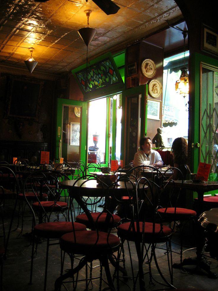 CAFE REGGIO~ Greenwich Village, NYC~  he oldest espresso machine in the USA.