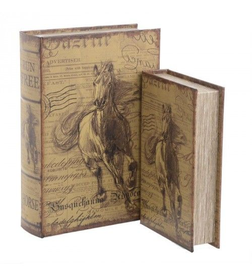 S_2 WOODEN BOX_BOOK 'HORSE' IN BEIGE_BROWN COLOR 21X7X27