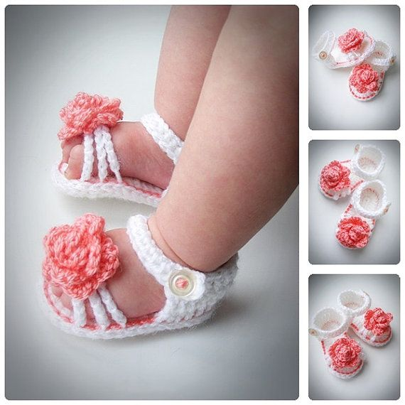 Crochet Baby Girl Sandals, Summer Baby Flower Shoes, White Spring Sandals…