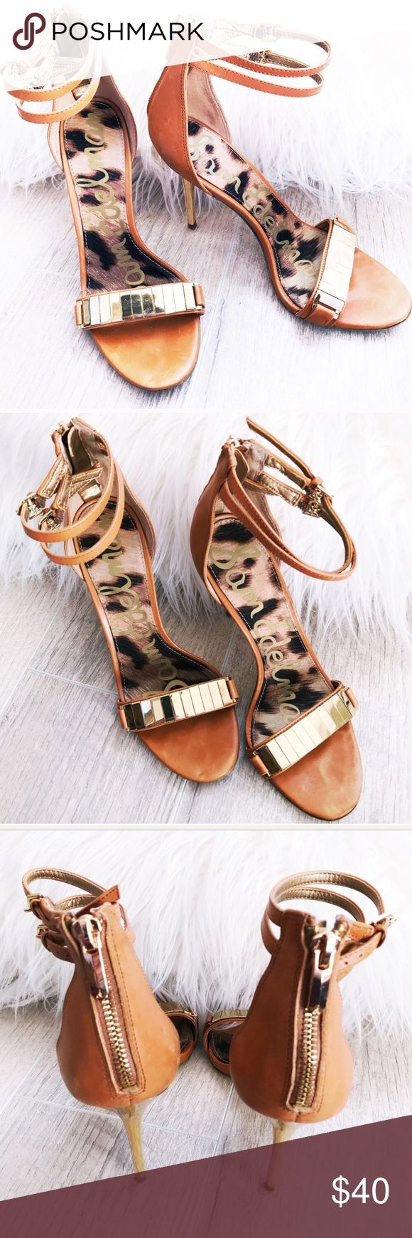 Sam Edelman Gold and Tan Strappy Heels These heels are gorgeous and in gently used condition as shown. Only selling because they do not fit. Fit is true to size. Wish they worked for me because they are beautiful and work with so many outfits! Sam Edelman Shoes Heels