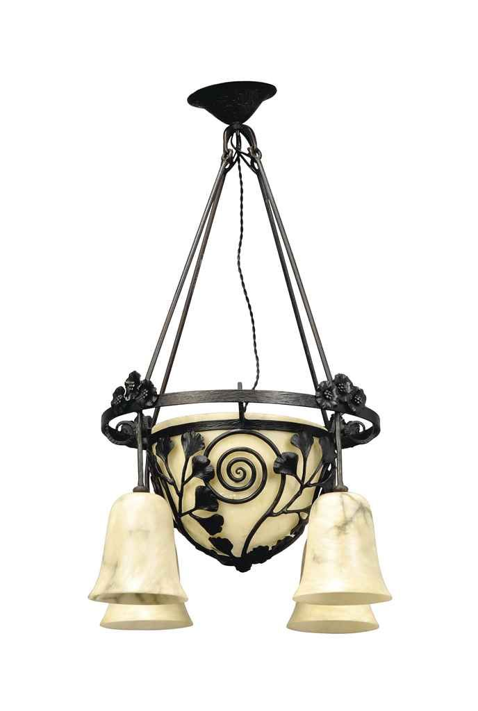 An Edgar Brandt wrought-iron and alabaster chandelier, circa 1925.