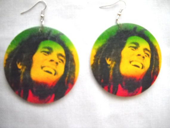 *Bob Marley* Crazy earrings. More fantastic pictures and videos of *Bob Marley* on: https://de.pinterest.com/ReggaeHeart/