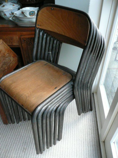 Wood and metal French School Chairs c.1940