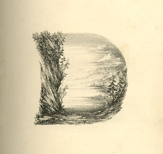 This is a series of 26 landscape scenes shaped as letters of the alphabet; rebound in a 20th-century binding. The whole collection is a part of the great collection of the british museum in London. Letter A: upper part composed of three figures around a fire at the edge of a slope to small pond, …
