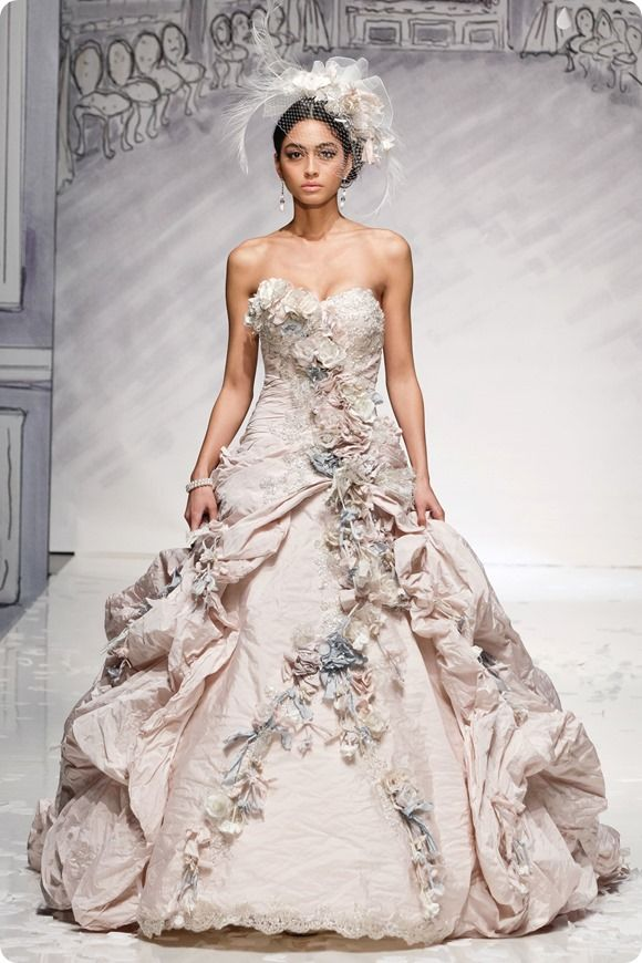 Ian Stuart bridal, pale pink wedding dress, oyster pink wedding dress, floral wedding dress