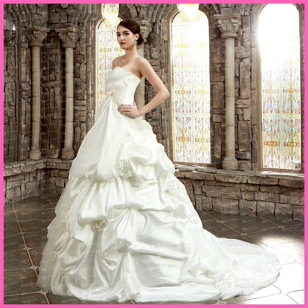 Ed Yh2501real Picture Exclusice Design Strapless Ruffled Hand Made Flower Wedding Gown