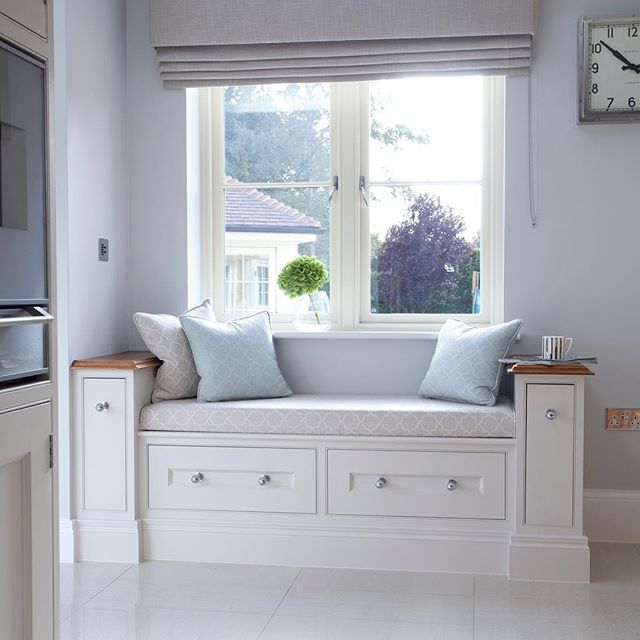 The window seat in this kitchen features storage drawers perfect for magazines or cookery books | #hayburnco • #windowseats •