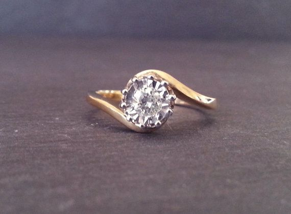 Sundari says: Affordable, gorgeous, AND matches my other rings. The only thing I'd change is the prongs -- too many! 4-6 would be prettier.  Solitaire Round Diamond Engagement Ring, Gold Diamond Spiral Ring, Single Diamond Ring, Classic Elegant Engagement Ring