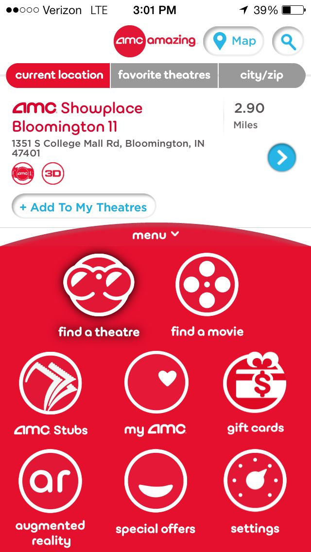 AMC Theaters :: Mobile App captured 3/2014 :: AMC scores with their mobile app! Find showtimes, locate theatres, watch trailers and buy tickets. You can make a movie wish-list, share showtimes with friends and on social media, and plan potty breaks with RunPee (they will tell you the best time of the movie to run to the restroom or grab a popcorn refill! They'll even let you know what you missed). --Madison Turner, Mobile Marketing Specialist, Salesforce ExactTarget Marketing Cloud