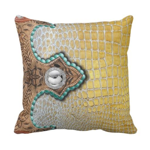 Alligator, Faux, Western Accent Yellow Throw Pillow