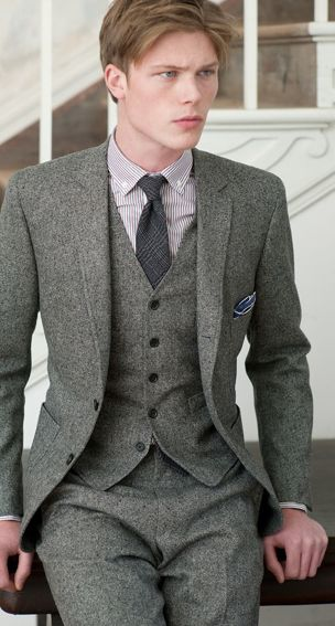 Three piece suit...love this tweed suit for Kevin on our wedding day!