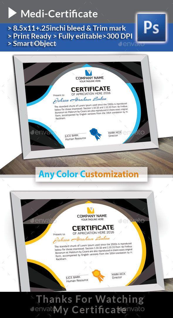 Medi Certificate #creative #modern design  • Download here → https://graphicriver.net/item/medi-certificate/21286021?ref=pxcr