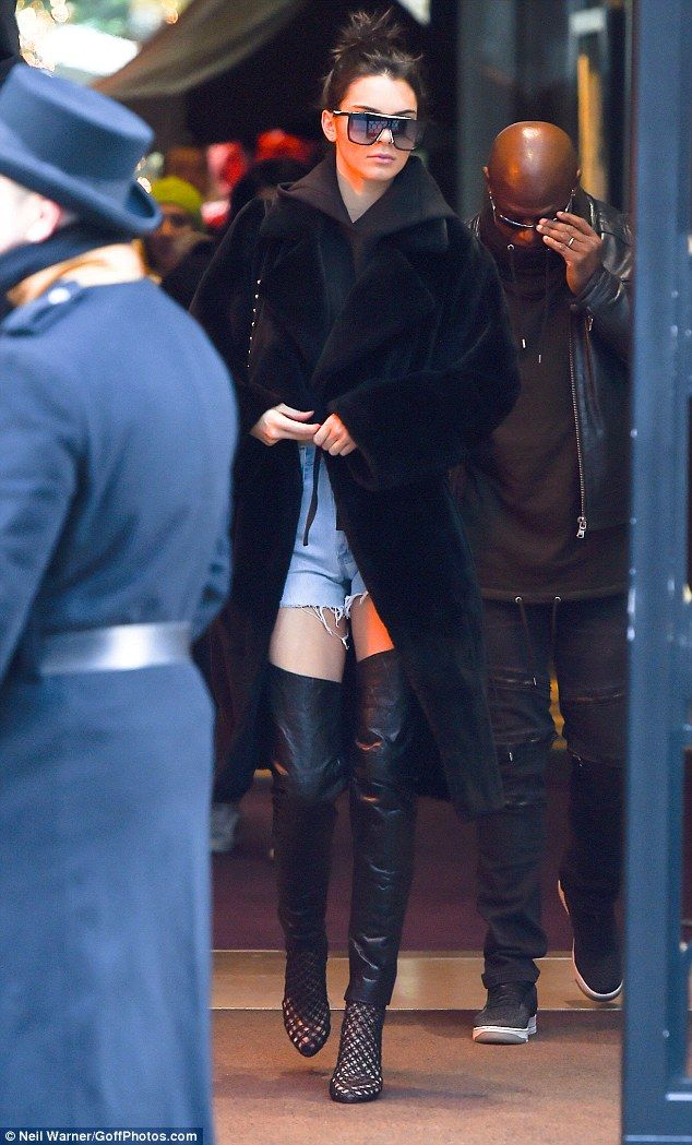 Stopping traffic: The day before her big Victoria's Secret show, Kendall Jenner got some practice in, as she strode out of her Paris hotel in a showstopping look