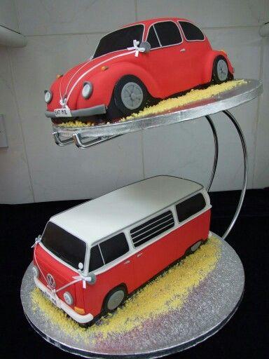 2 tier wedding cake VW Beetle and Camper Van