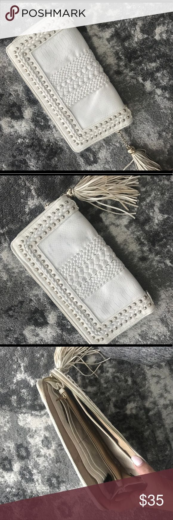 White studded clutch White zip clutch. Wallet clutch with gold embellishments. Bags Clutches & Wristlets