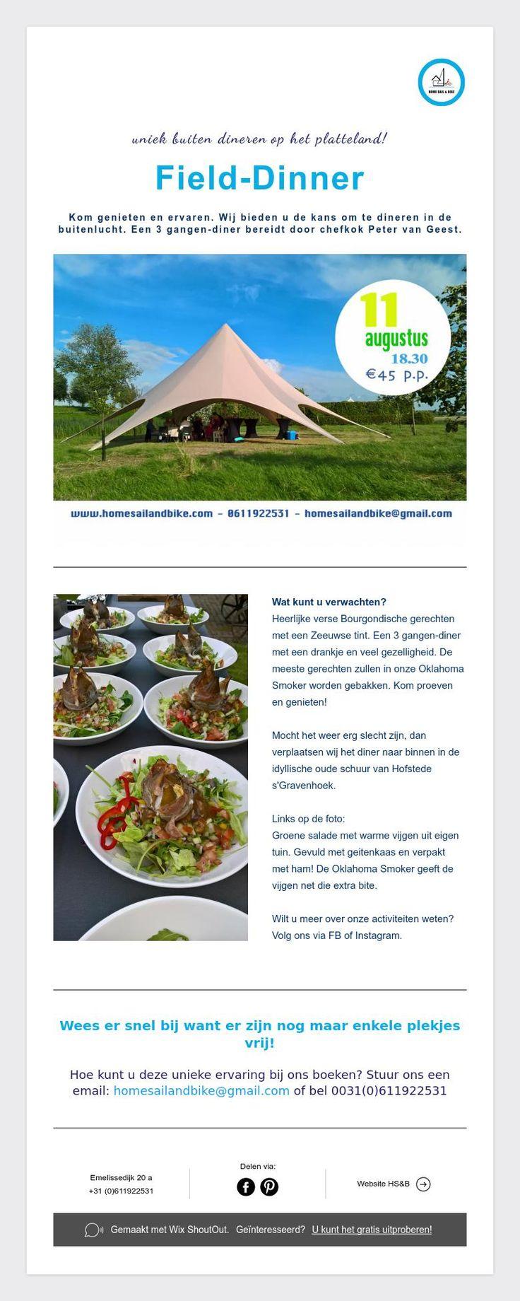 uniek buiten dinerenop het platteland!    Field-Dinner    Kom genieten en ervaren. Wij bieden u de kans om te dineren in de buitenlucht. Een 3 gangen-diner bereidt door chefkok Peter van Geest.