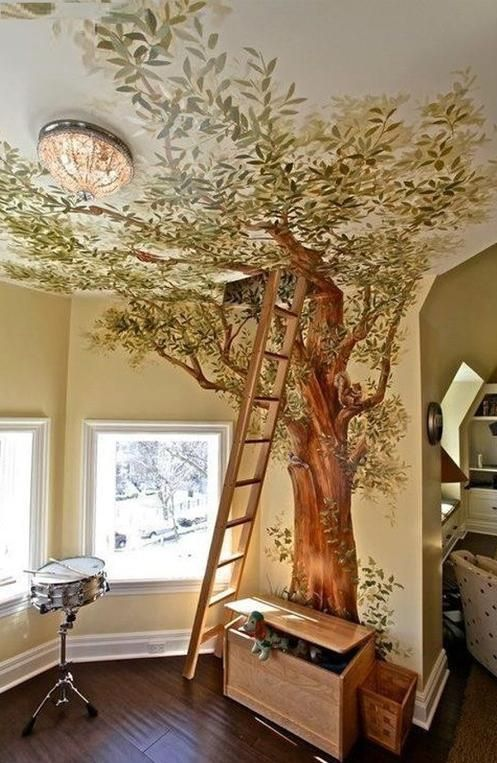 Paint a tree in the kids' room/playroom. Topped off with Hannan's inspiring poem on the Tree of Life as wall murals. Perfect.
