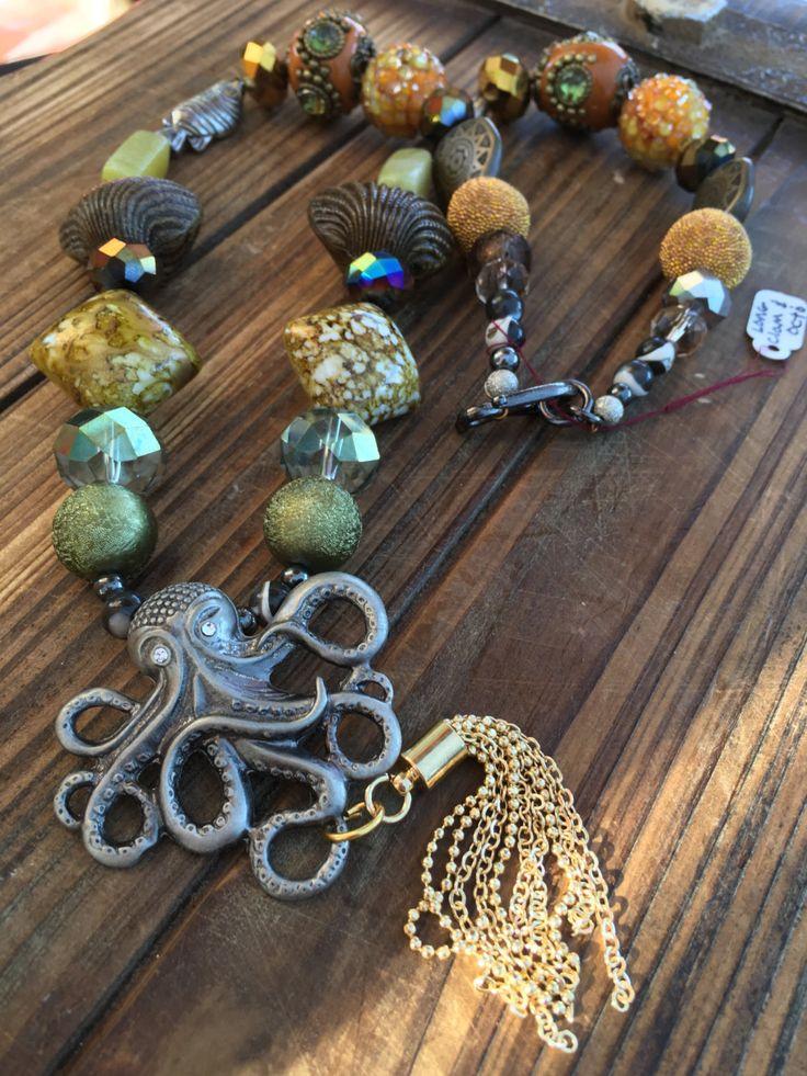 Kraken necklace. Mermaid necklace. Beaded Octopus necklace. Ocean inspired…