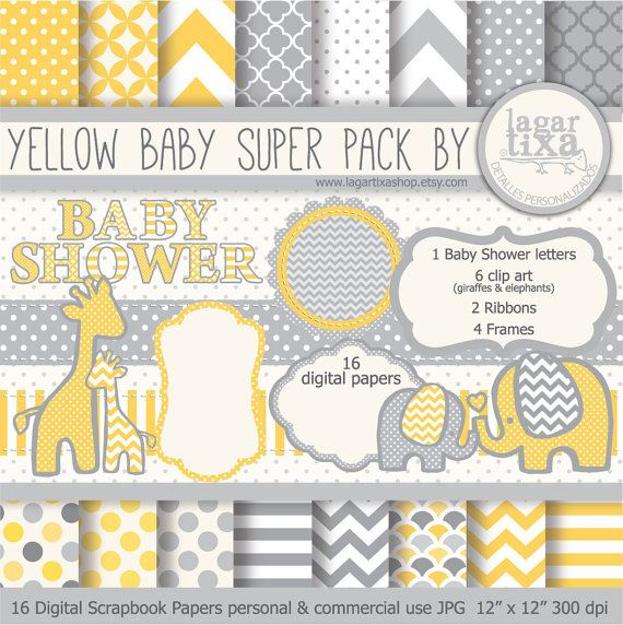 Gray Yellow Digital Paper background textures patterns giraffe elephant chevron polka dots frames grey invitations baby shower printables