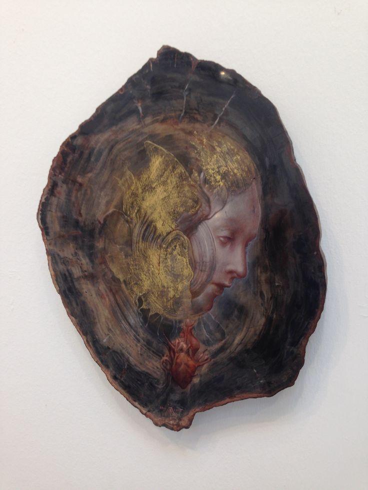 Sacro cuore - sacred heart , oil, gold leaf on fossil wood