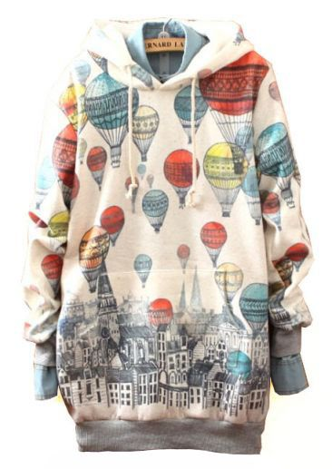 White Hooded Balloons Print Hoodie. I would wear this around the house every day. Comfy