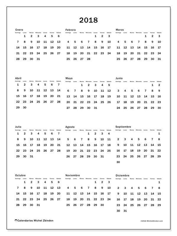 Gratis! Calendarios para  2018 para imprimir
