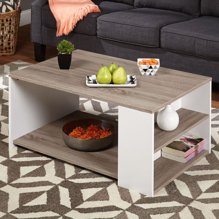 The Simple Living Urban Coffee Table lends a modern look to any area. The white and Sonoma oak finishes allow you to accent with either dark or light furniture.