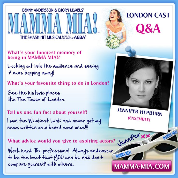 Say hello to Jennifer Hepburn from the MAMMA MIA London ensemble! MAMMA MIA! London INFO/TICKETS: www.mamma-mia.com/london.php #MammaMiaMusical #MammaMiaLondon #MeetTheCast