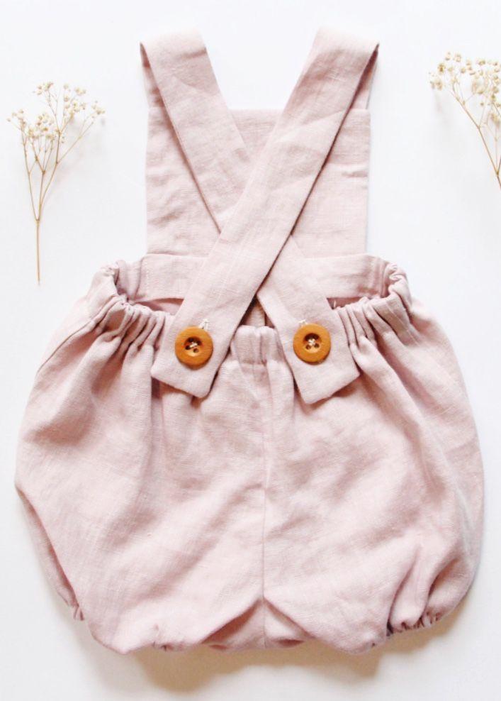 8e359be56 Handmade Blush Pink Linen Baby Romper