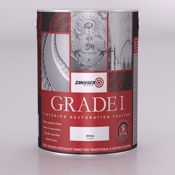 Grade 1 - Zinsser (UK) - Specialist paints and primers. Zinsser Grade 1 is a high performance, mould resistant paint for the interior decoration of walls and ceilings in traditional and historic buildings, including churches, castles and period properties.