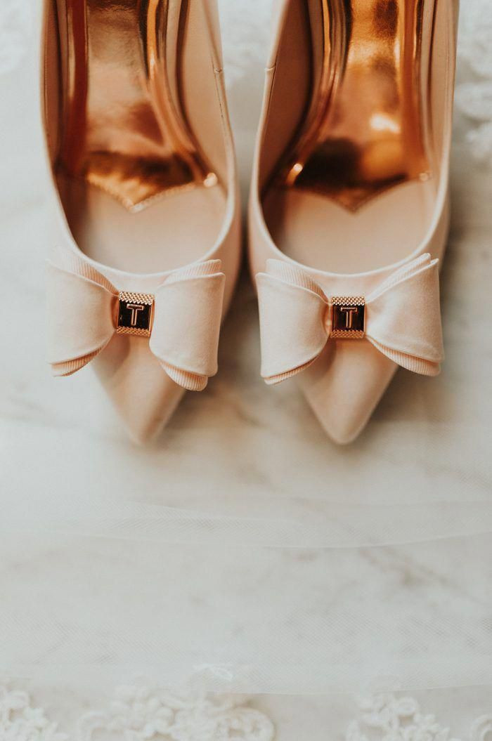 We are swooning over these perfectly pink bridal shoes with glamorous rose  gold detail  ffce01fa7651