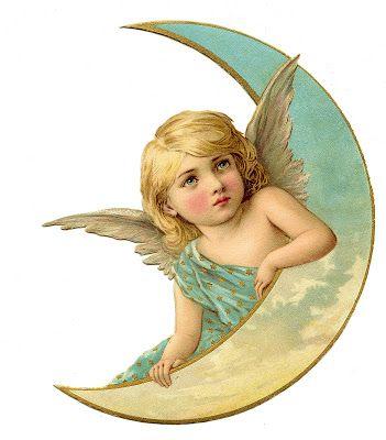 Vintage Christmas Image – Amazing Angel on Moon