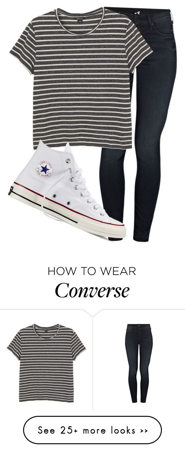 """""""Untitled #1130"""" by abbeycadabbey on Polyvore featuring Mother, Monki and Converse"""