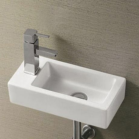 Rondo Wall Hung Small Cloakroom Basin R/H 1TH - 365 x 185mm