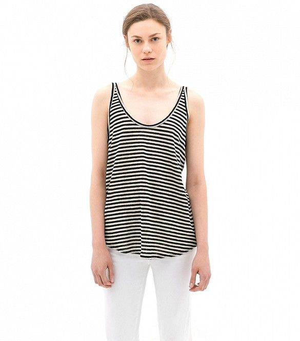 Zara Striped Tank Top in Black